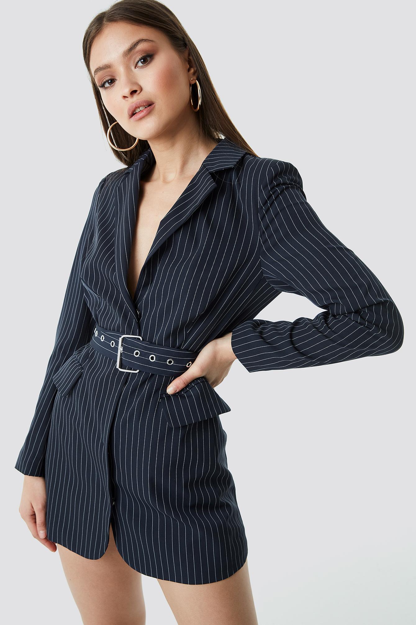 chloé b x na-kd -  Pinstriped Belted Short Blazer Dress - Blue