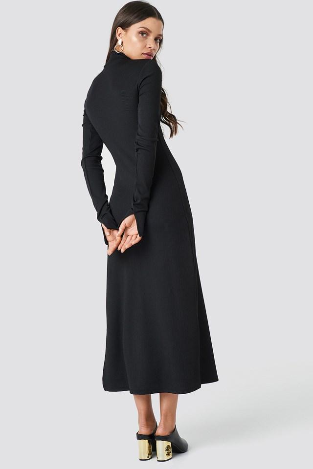 Polo Side Slit Midi Dress Black