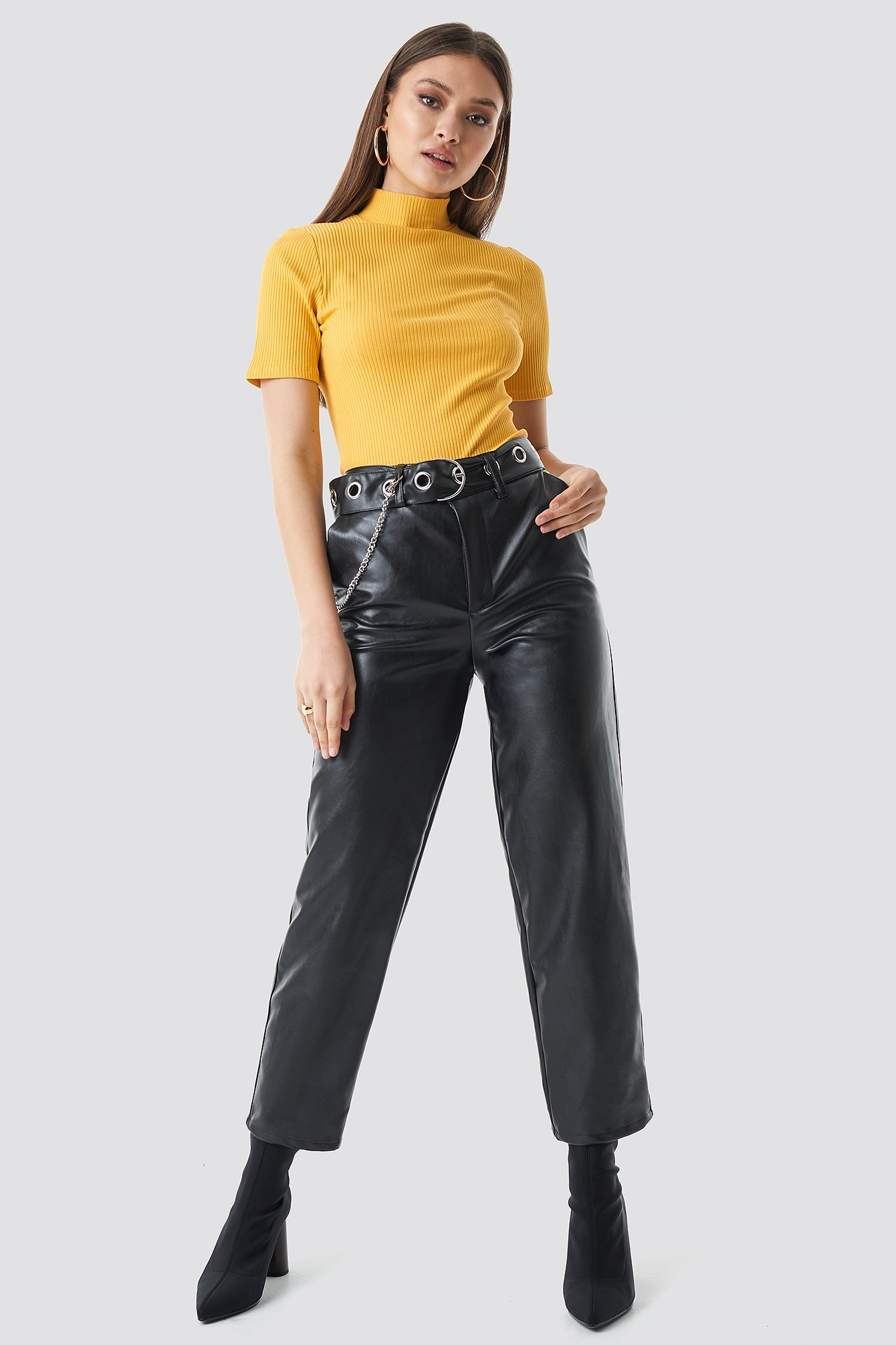 Pu Leather Belted Pants NA-KD.COM