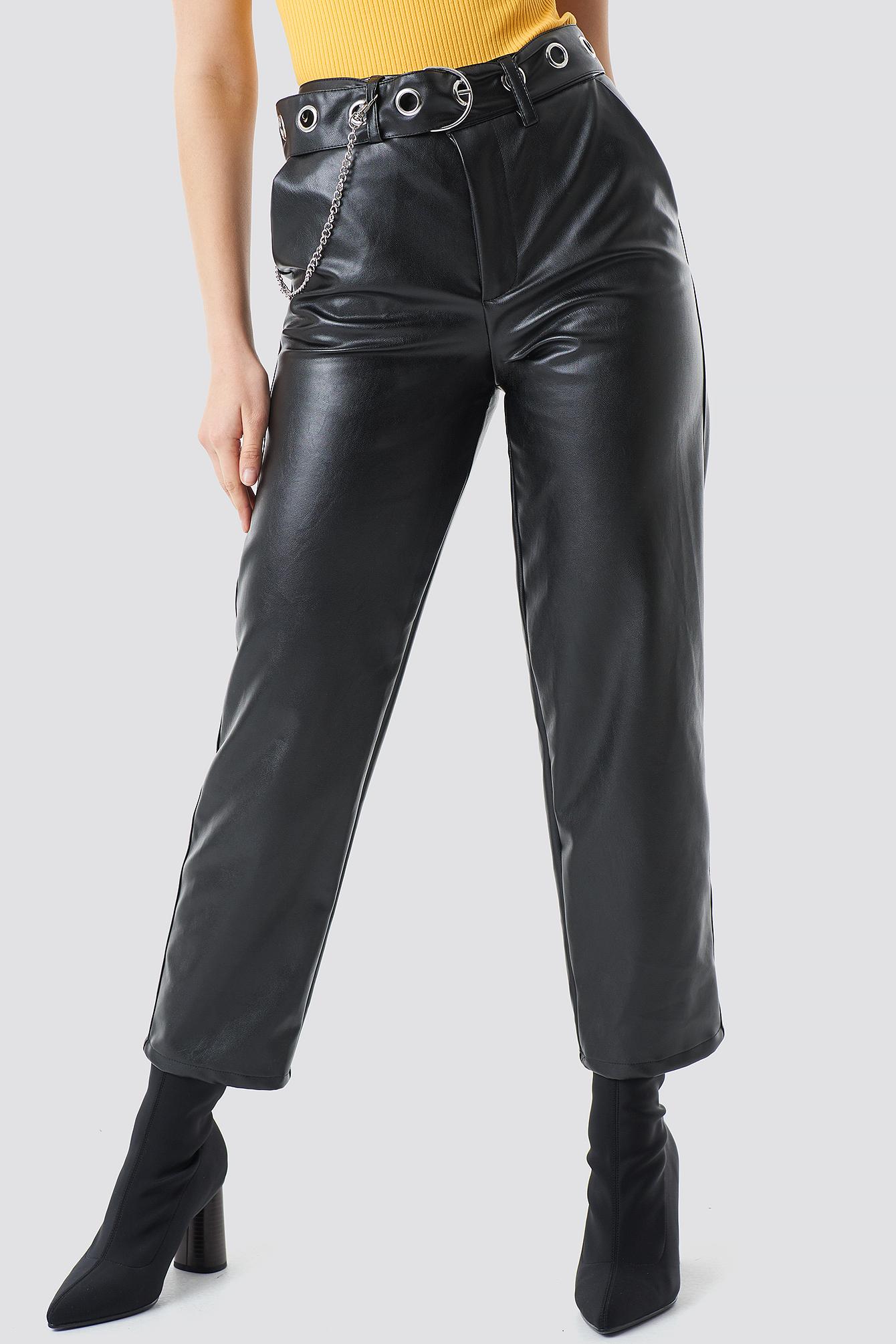 Pu Leather Belted Pants NA-KD.COM