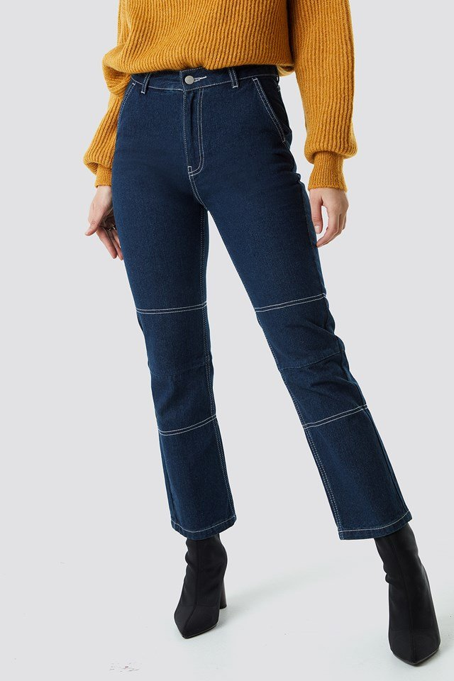 Straight Cropped Jeans Mid Blue