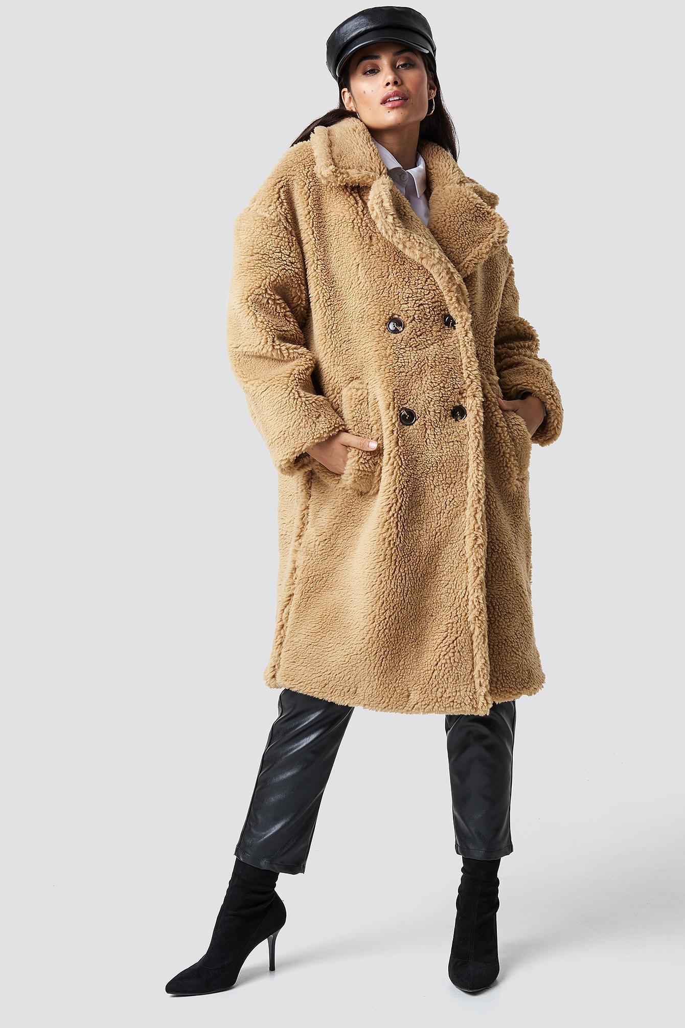 chloé b x na-kd -  Teddy Oversized Jacket - Beige