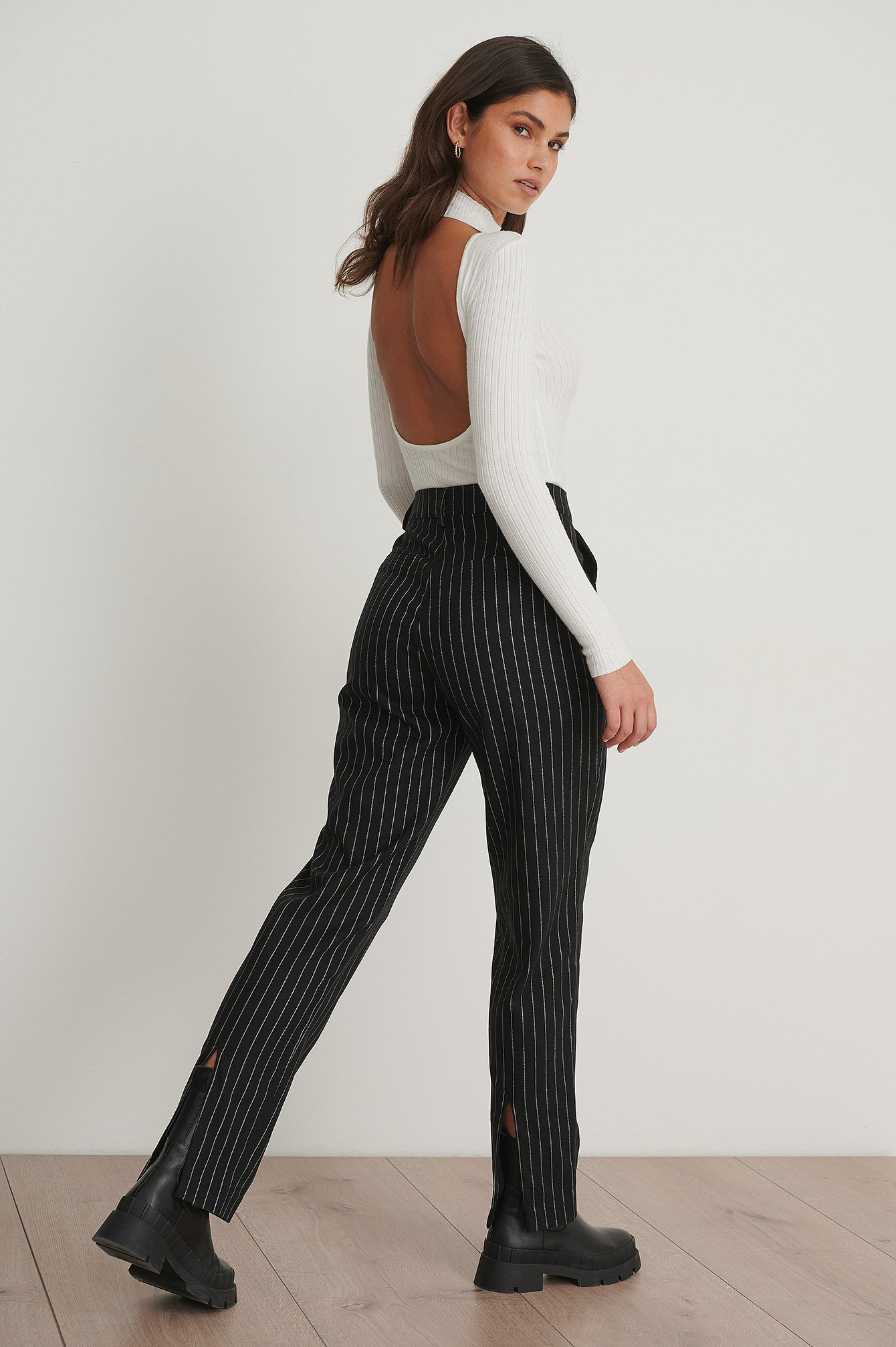 Black Pinstriped Back Slit Suit Pants