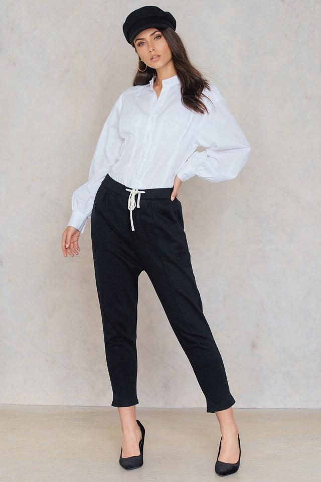 Zipped Cropped Pants Black