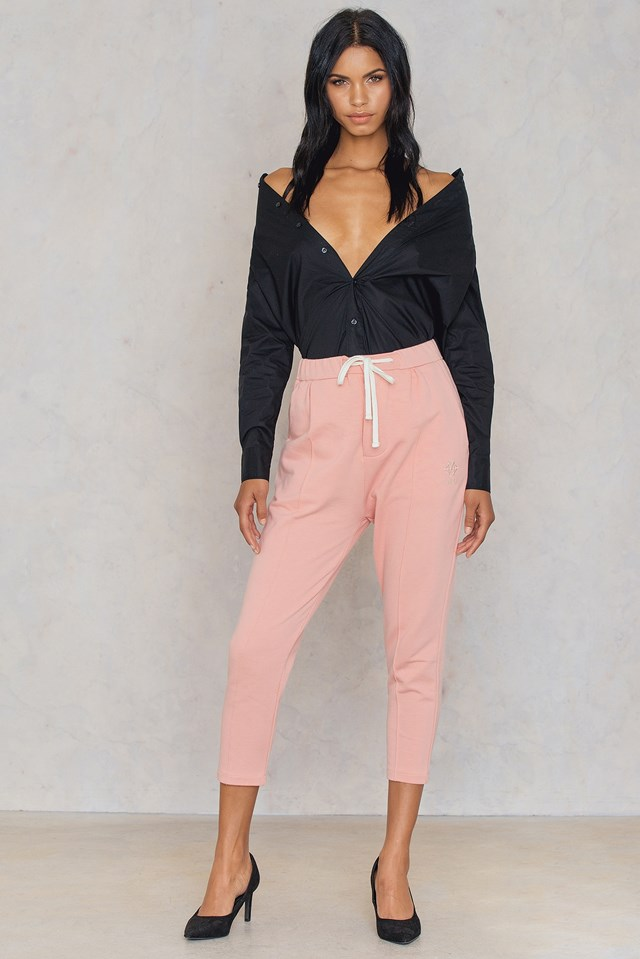 Zipped Cropped Pants Blush Pink