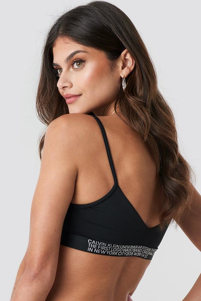 Unlined Triangle Bralette Black