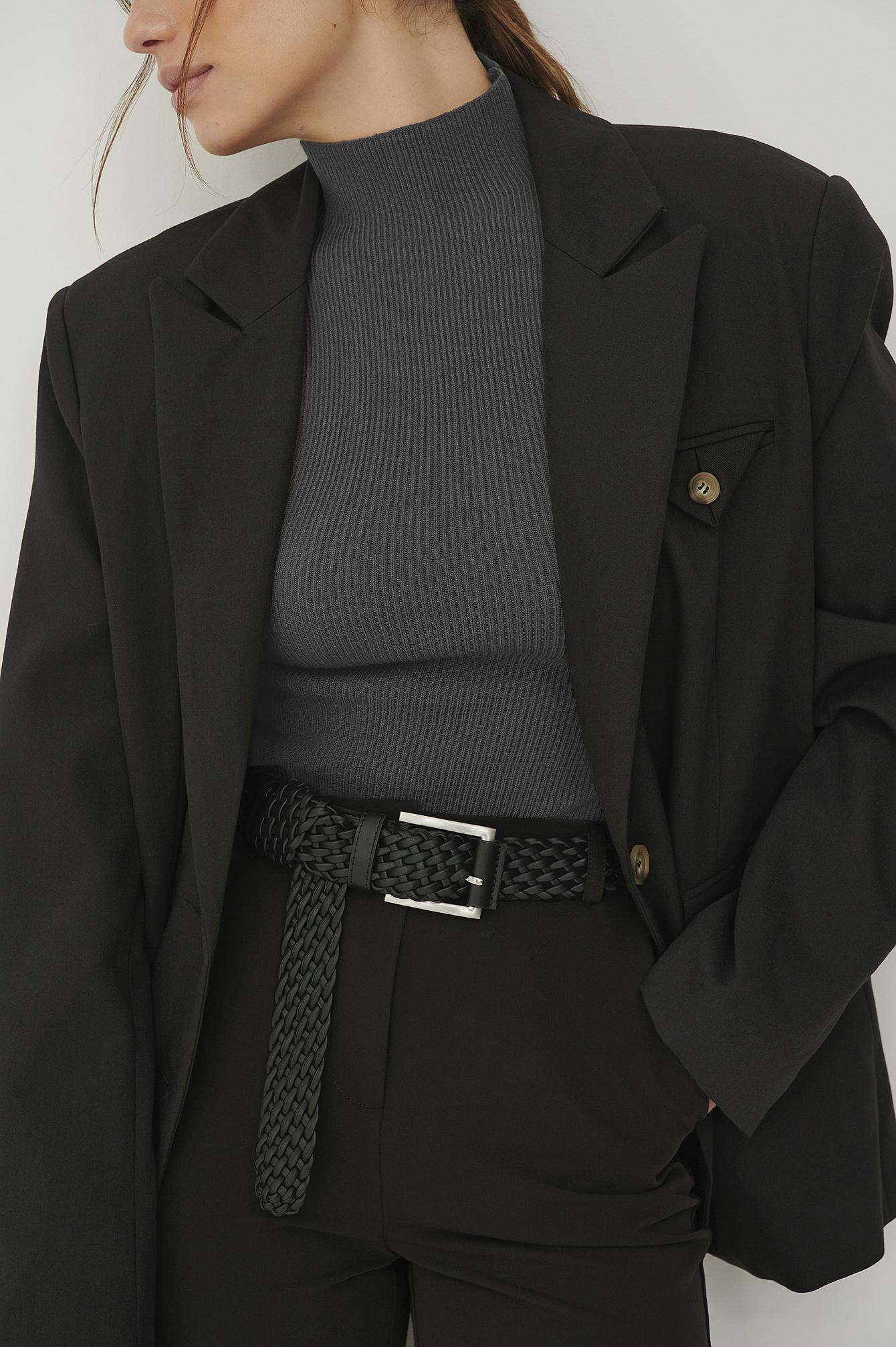 Claire Rose x NA-KD Flettet Pu-Bælte - Black