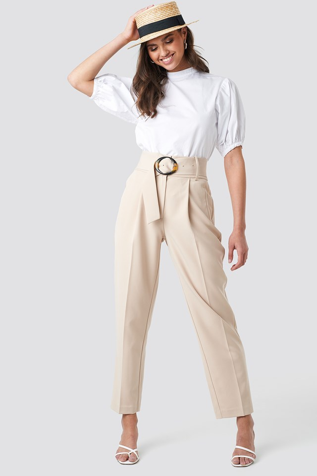 Asymmetric Belted Suit Pants Sand