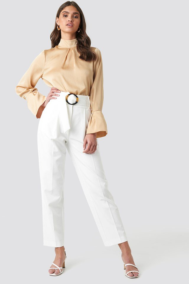 Asymmetric Belted Suit Pants White