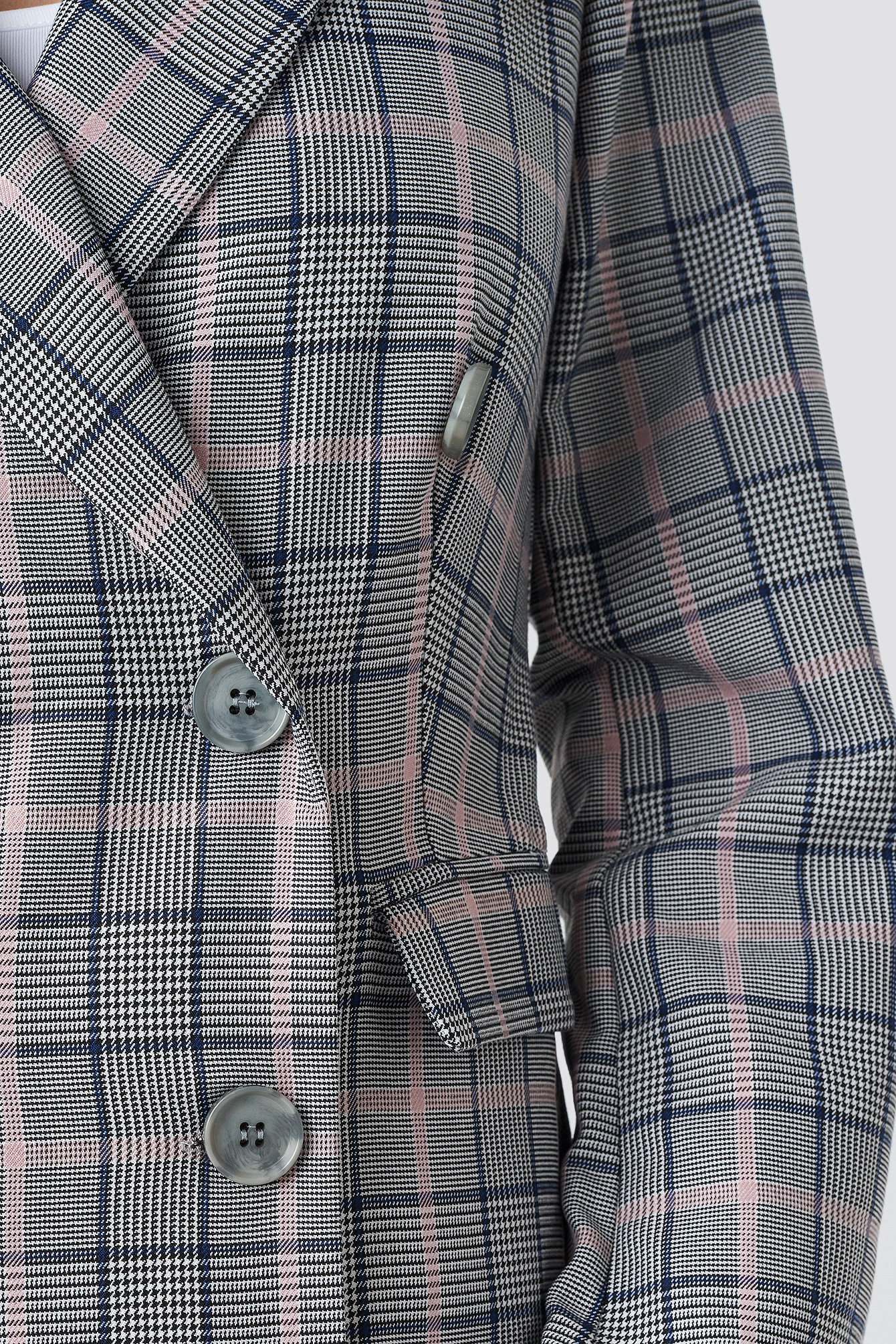 Button Detail Checkered Blazer NA-KD.COM