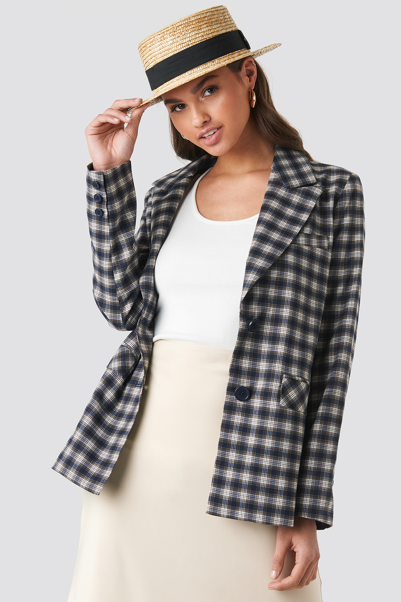 Checkered Straight Fitted Blazer NA-KD.COM