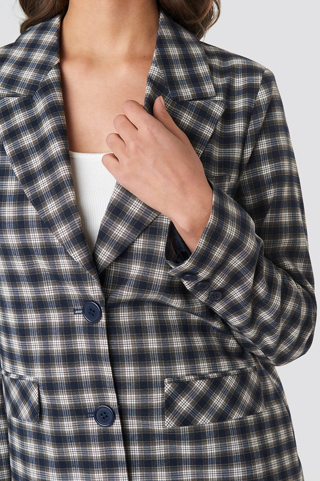 Checkered Straight Fitted Blazer Checkered