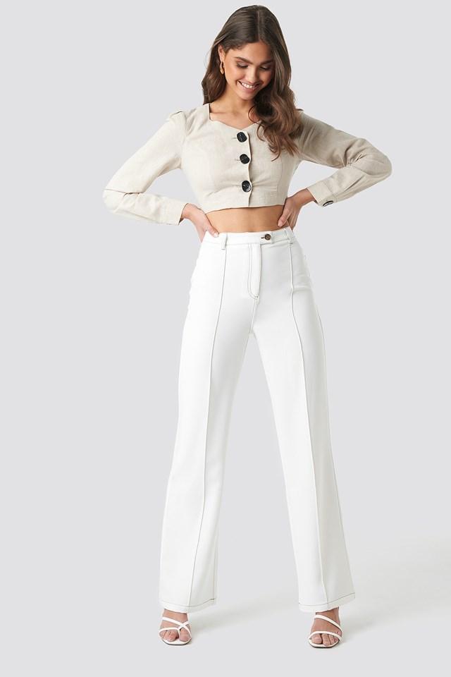 Contrast Seam Suit Pants NA-KD Classic