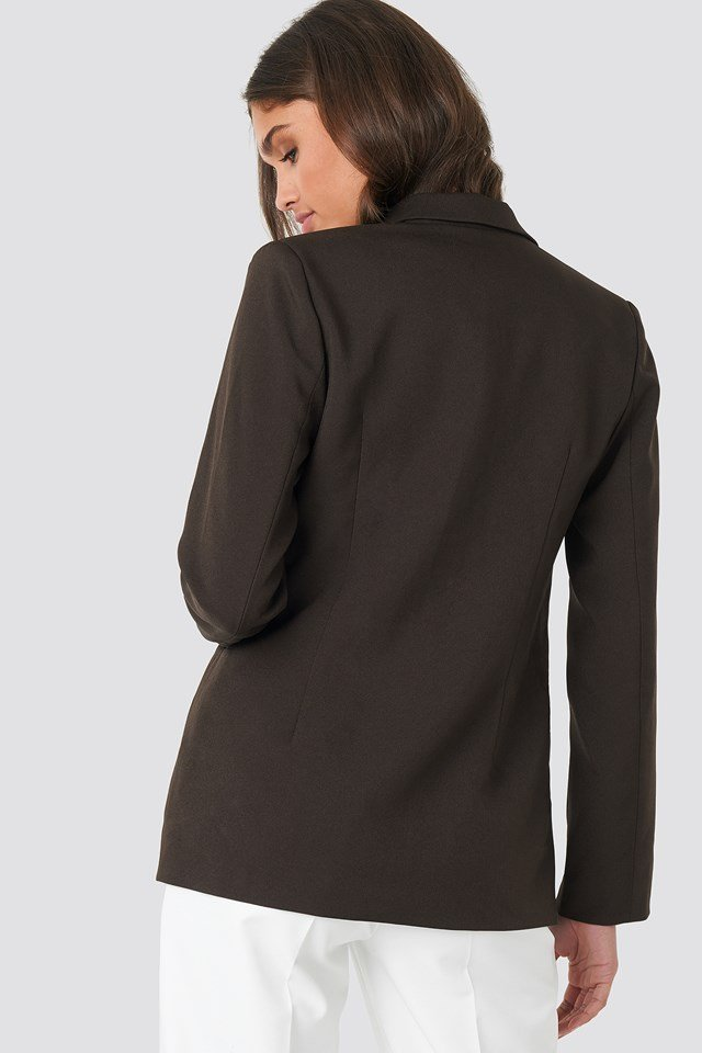 Cutline Detail Blazer Dark Brown