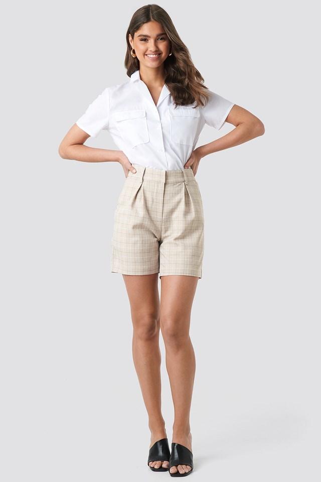 High Waist Checkered Shorts NA-KD.COM