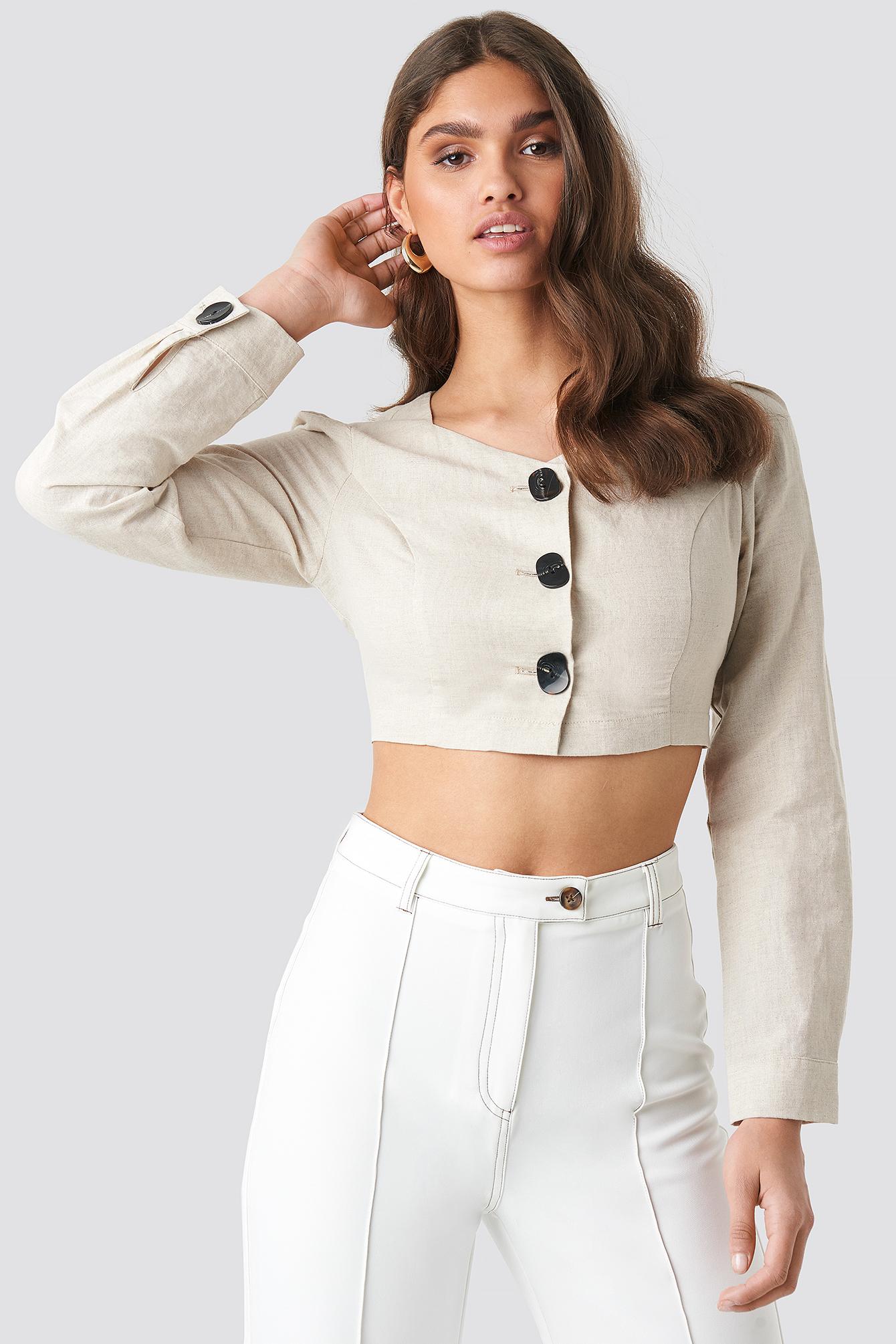 Linen Blend Buttoned Blouse NA-KD.COM