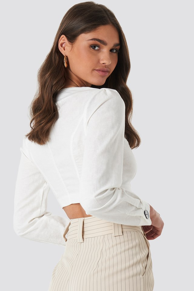 Linen Blend Buttoned Blouse White