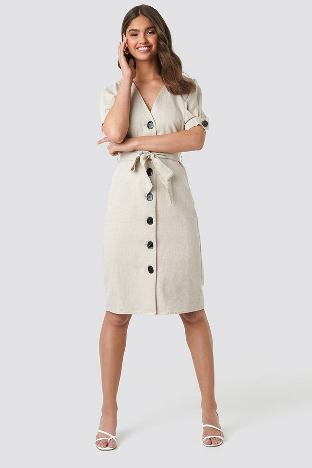 Linen Blend Buttoned Dress NA-KD.COM