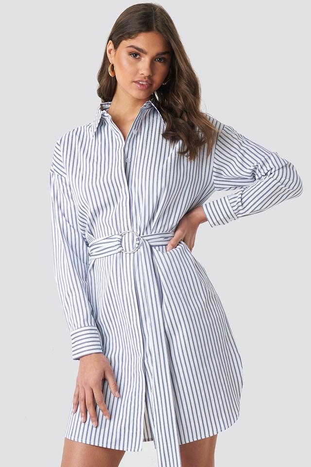 O-ring Striped Shirt Dress White Blue Stripes