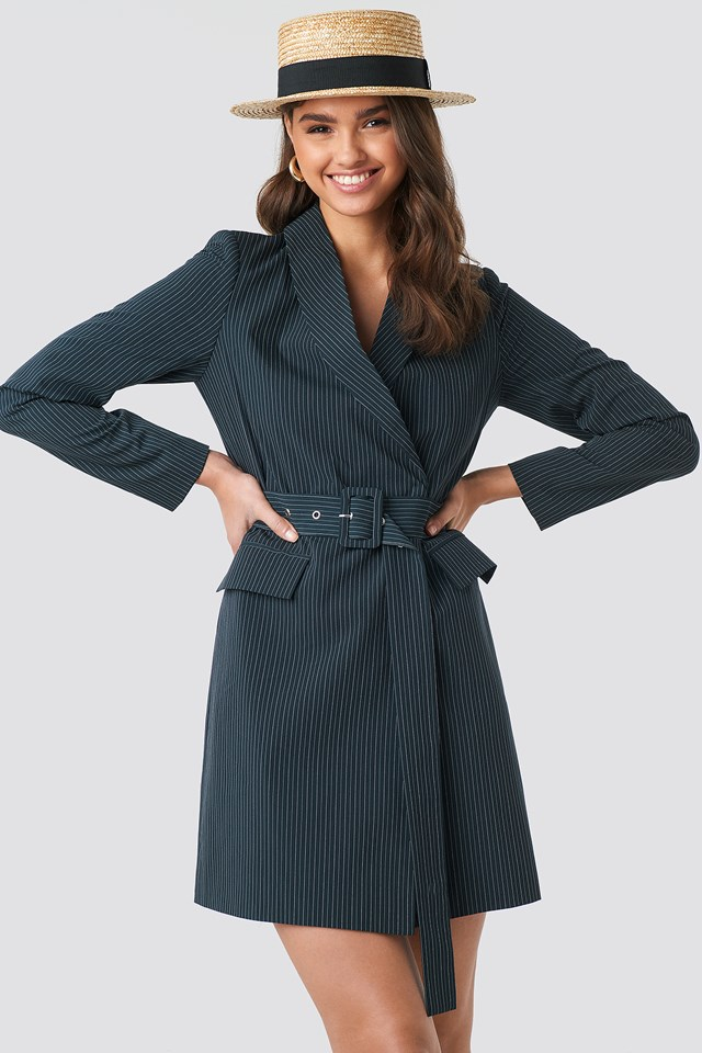 Pinstriped Belted Blazer Dress DK Navy