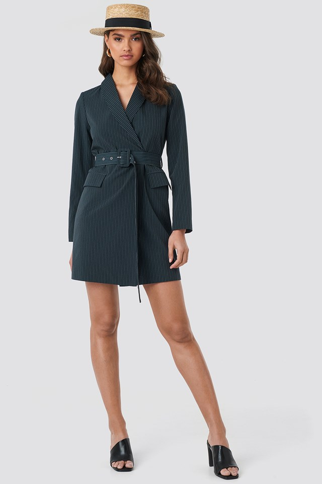Pinstriped Belted Blazer Dress NA-KD.COM