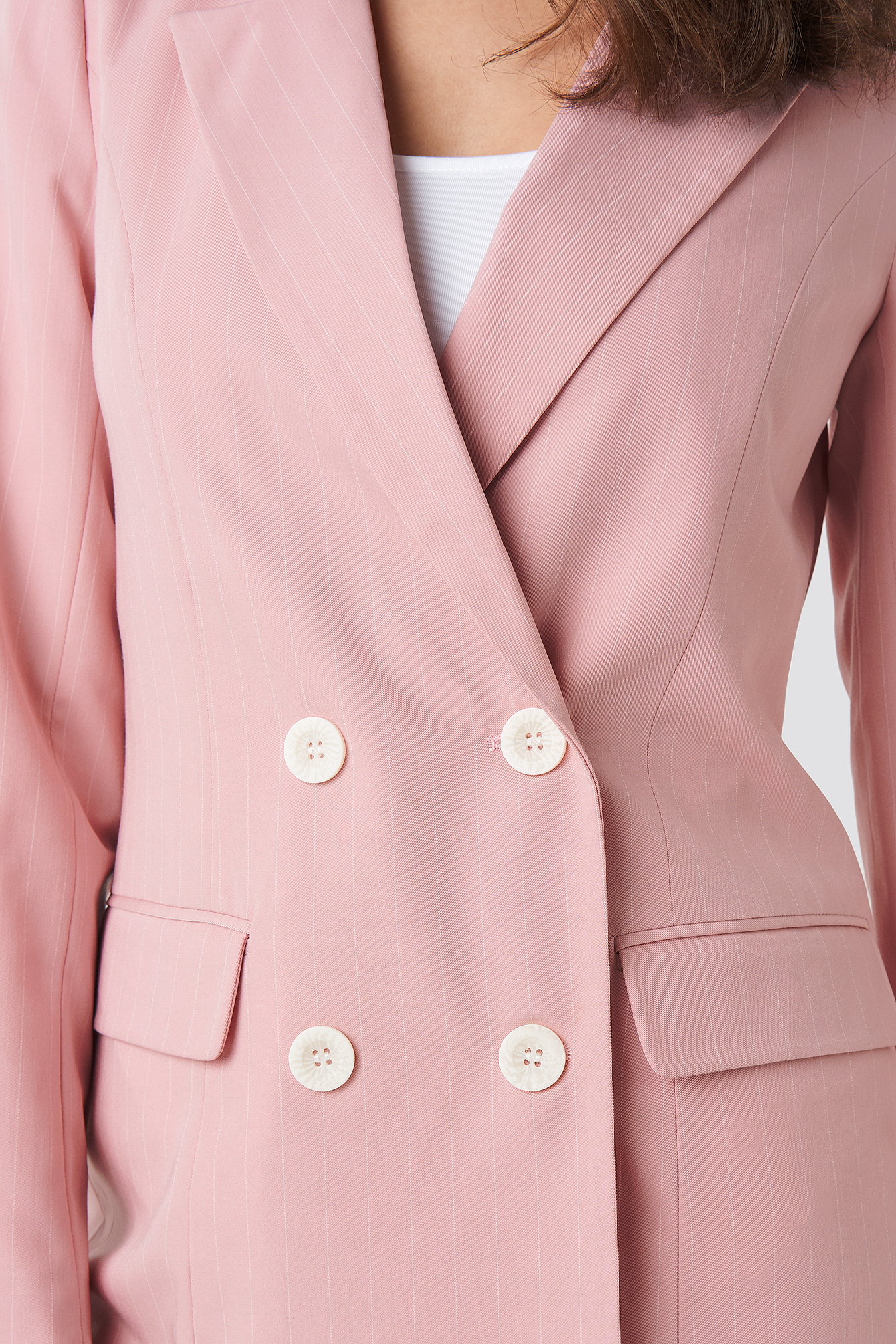 Pink White Stripe Pinstriped Double Breasted Blazer