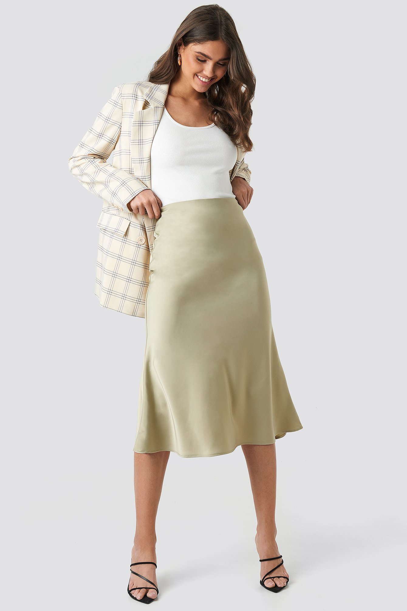 na-kd classic -  Satin Skirt - Green