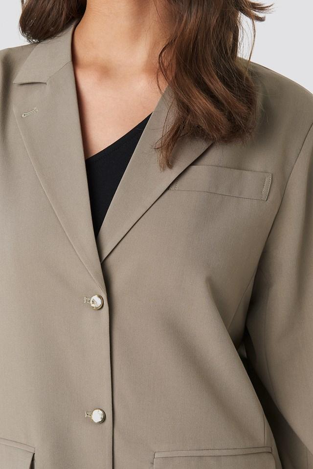 Shiny Button Blazer Taupe