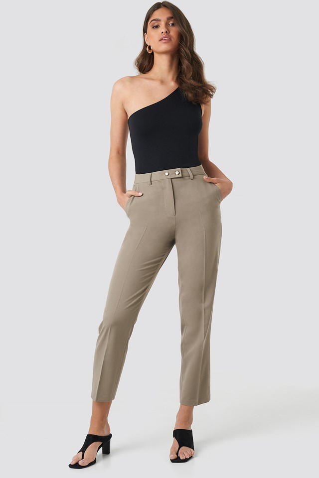 Shiny Button Suit Pants Taupe