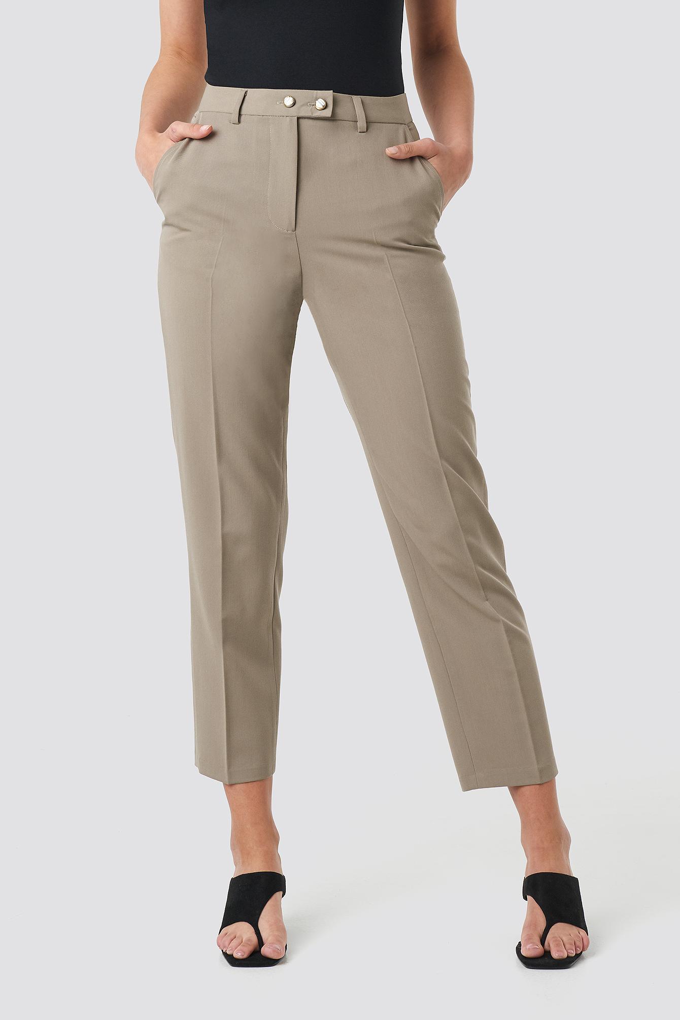 Shiny Button Suit Pants NA-KD.COM