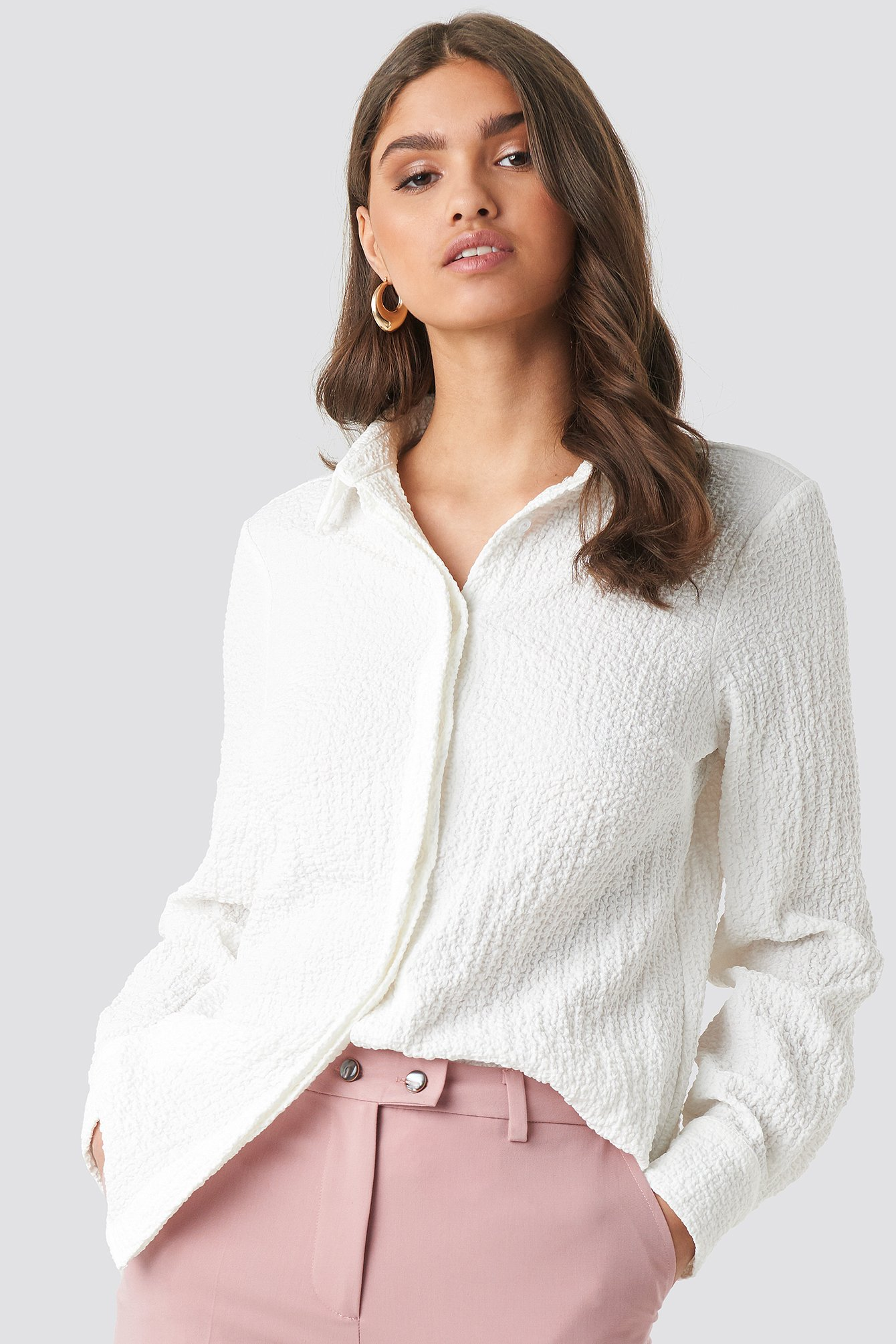 na-kd classic -  Structured Loose Fitted Shirt - White