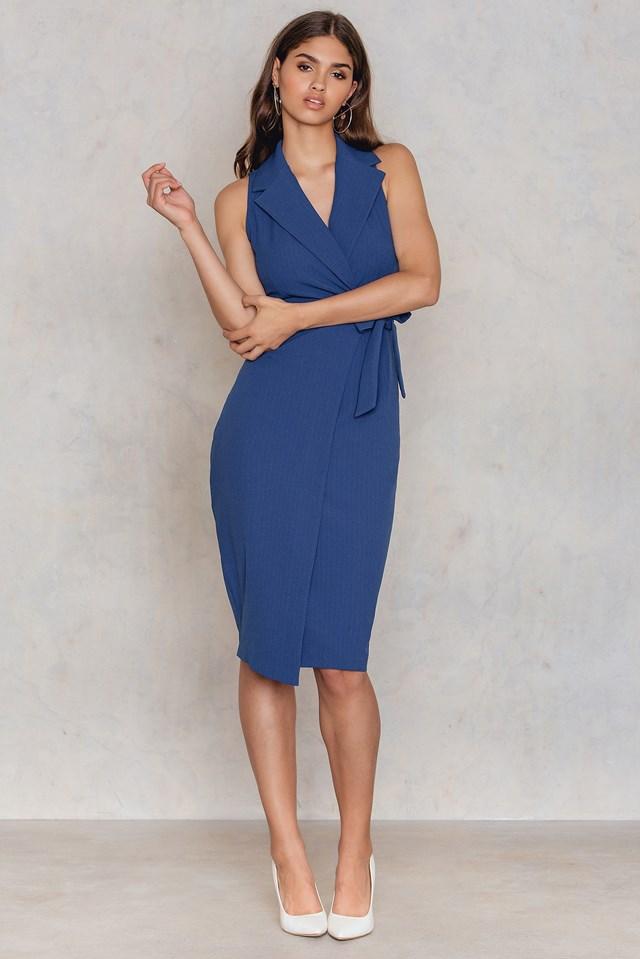 Collar V Neck Tie Up Dress Blue