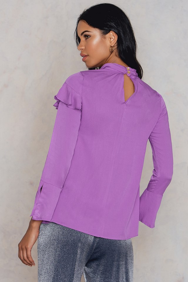 High Collar Long Sleeve Blouse Purple