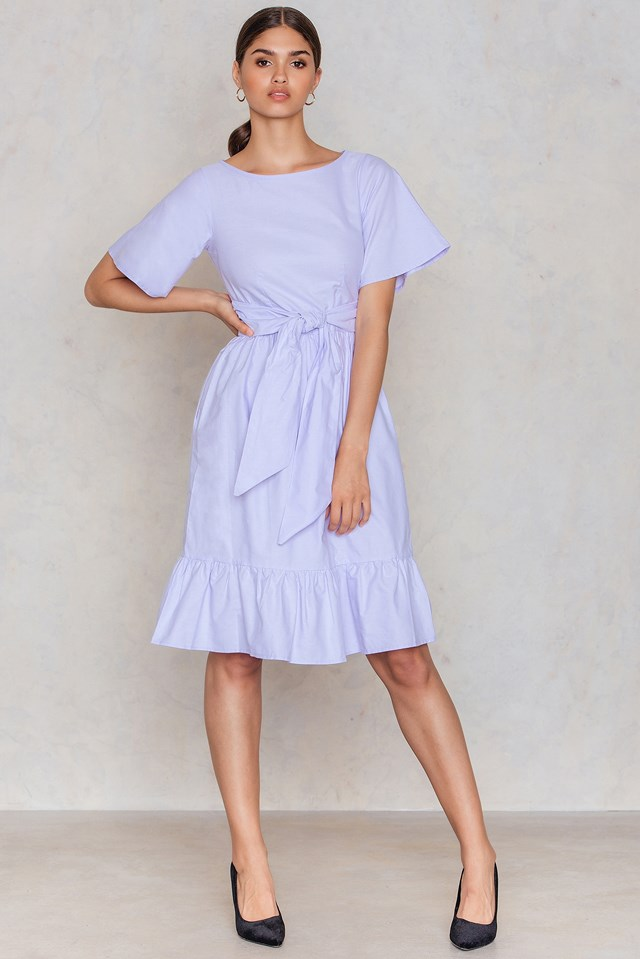Short Sleeve Tie Front Pep Hem Dress Lilac