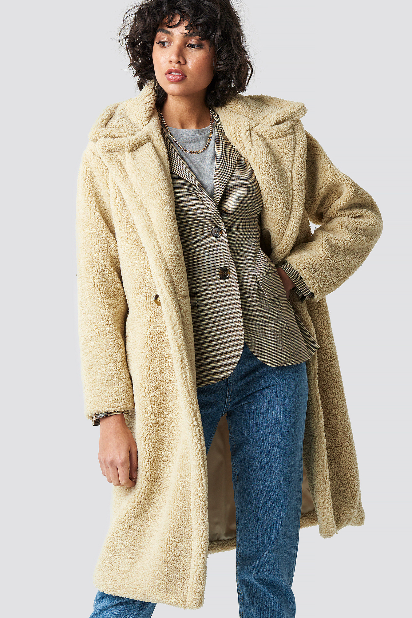 COLOURFUL REBEL Nora Long Teddy Coat - Beige