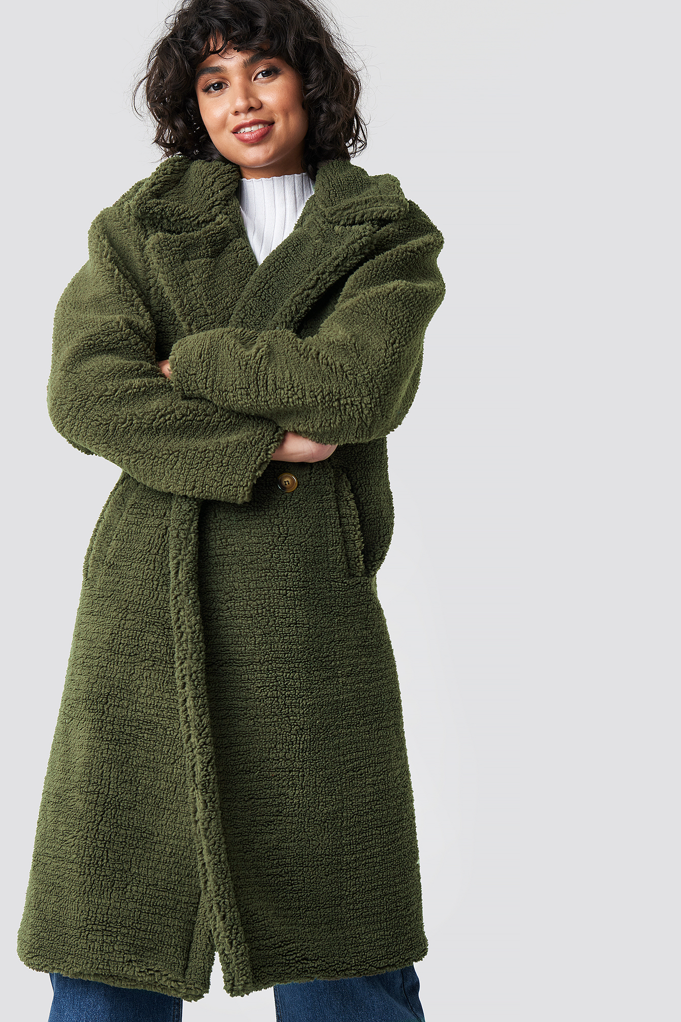 COLOURFUL REBEL Nora Long Teddy Coat - Green
