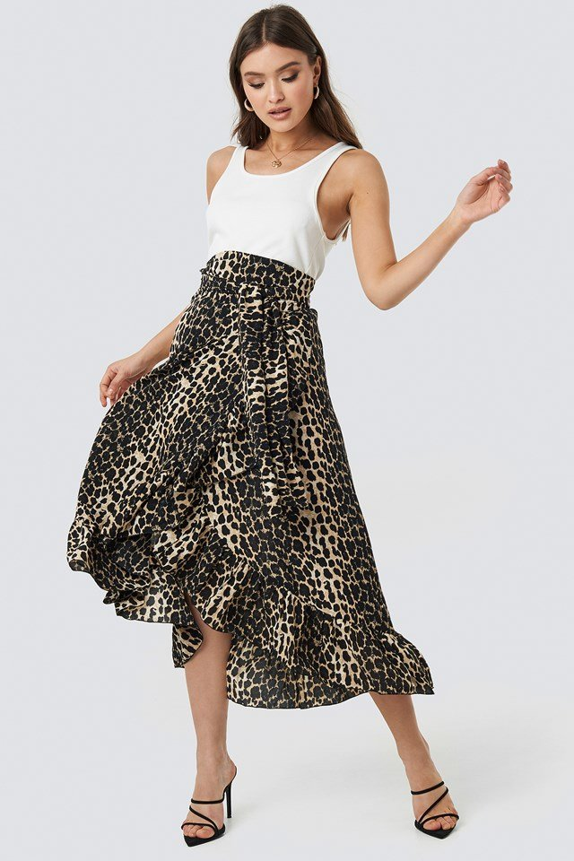 Siera Leopard Wrap Skirt Brown