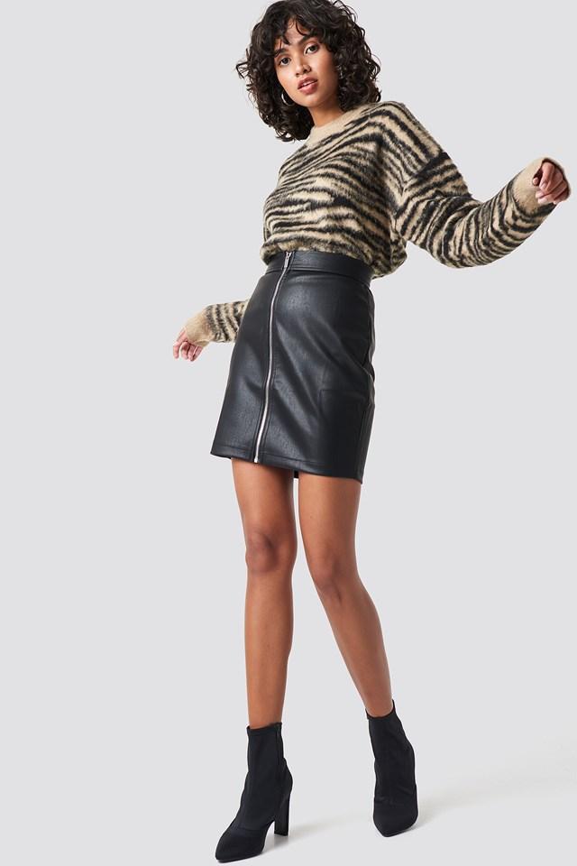 Tanya PU Zipper Skirt Colourful Rebel