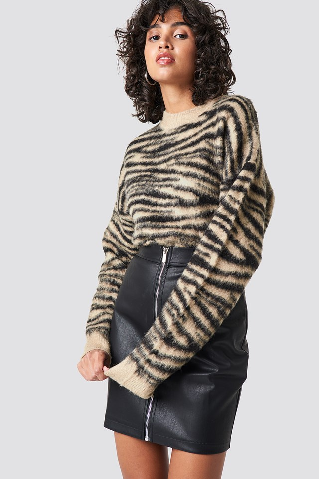 Tanya PU Zipper Skirt Black