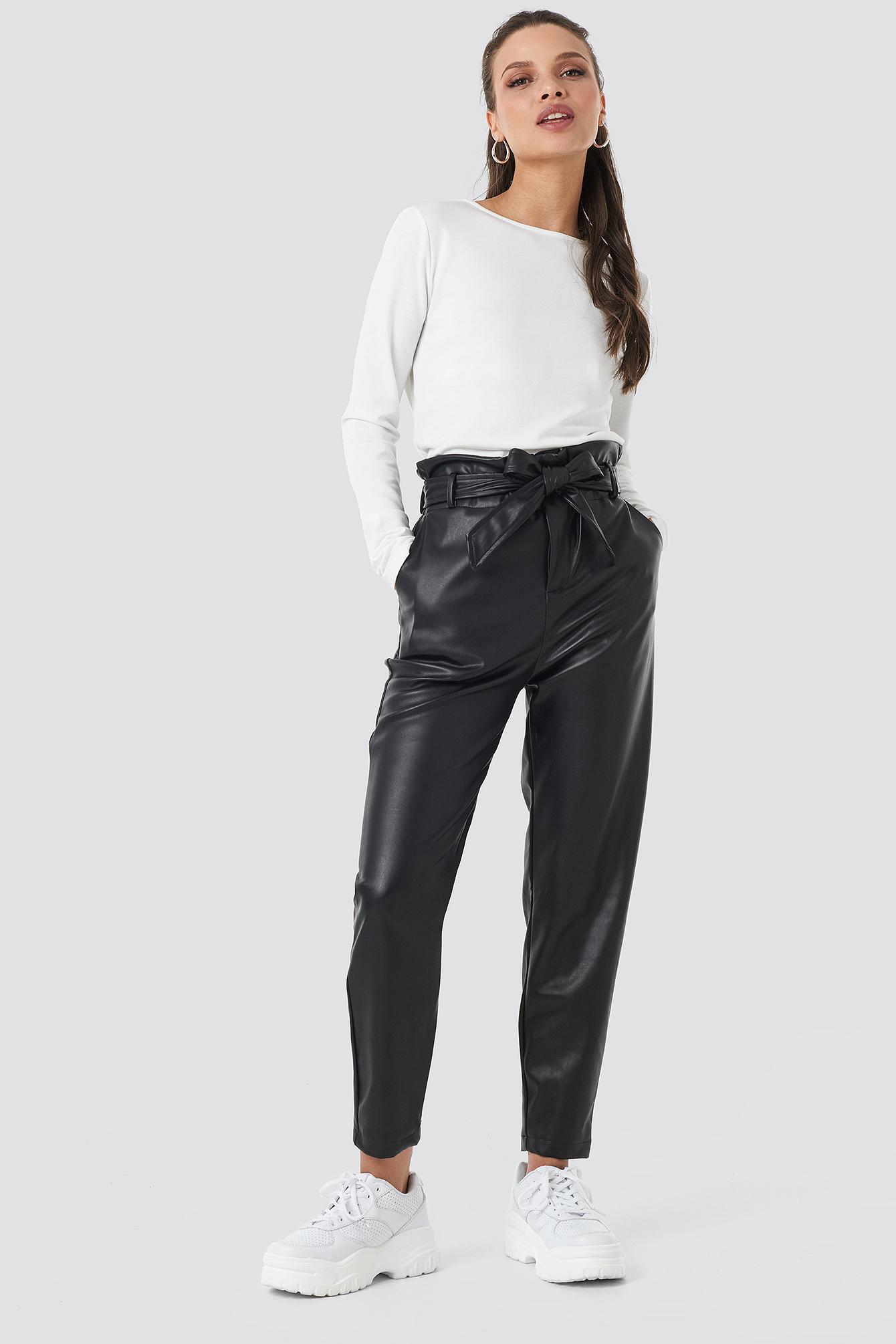 Jasmin PU Paperbag Pants NA-KD.COM