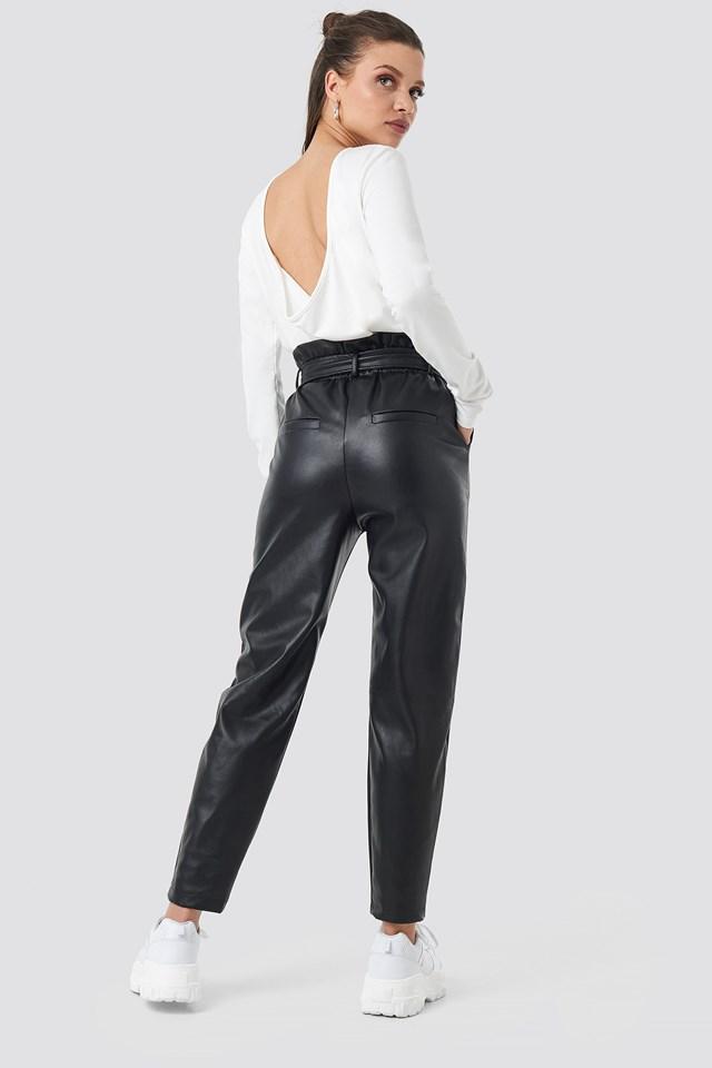 Jasmin PU Paperbag Pants Black
