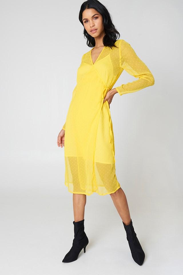 Swiss Dot Wrap Dress NA-KD.COM