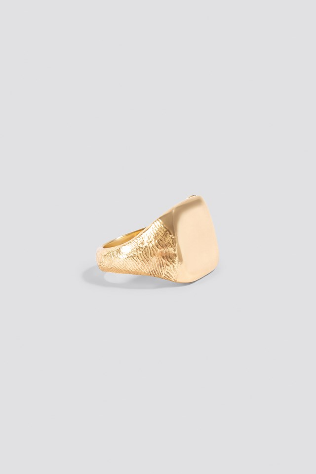Molded Signet Ring Gold Plated Brass