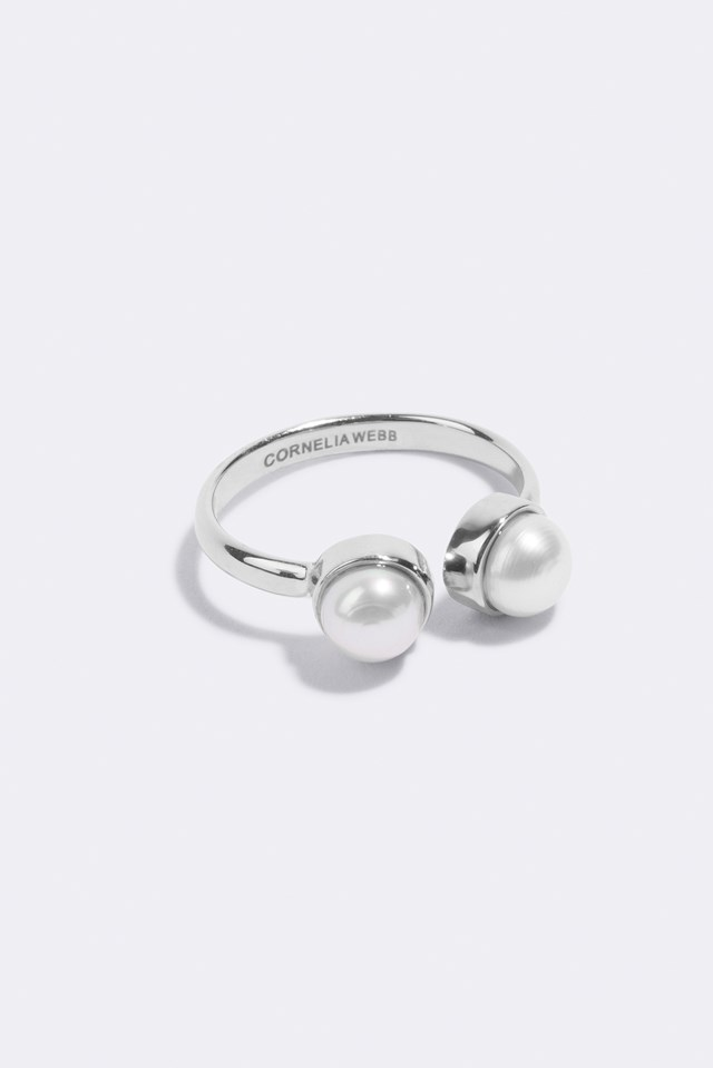 Pearled Open Ring Sterling Silver