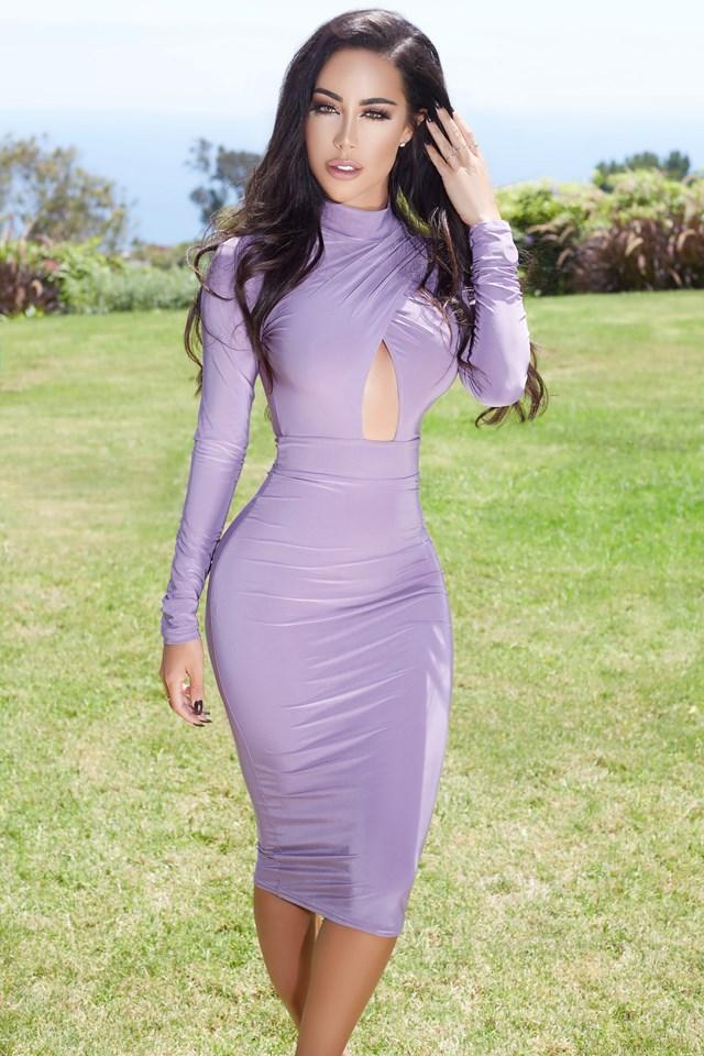 Long Sleeve Keyhole Open Front Midi Dress Lilac