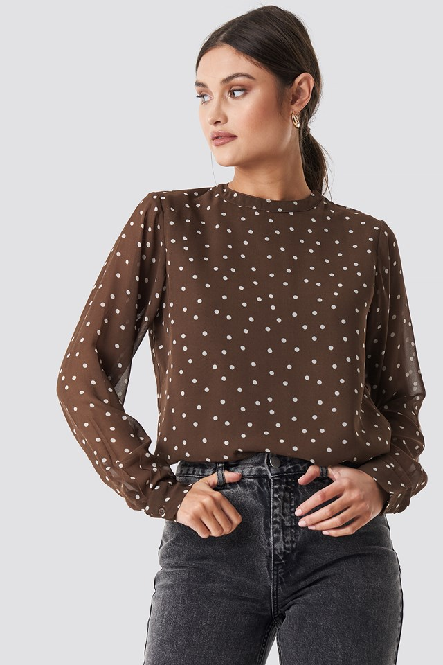 Round Neck Dotted Chiffon Top Brown