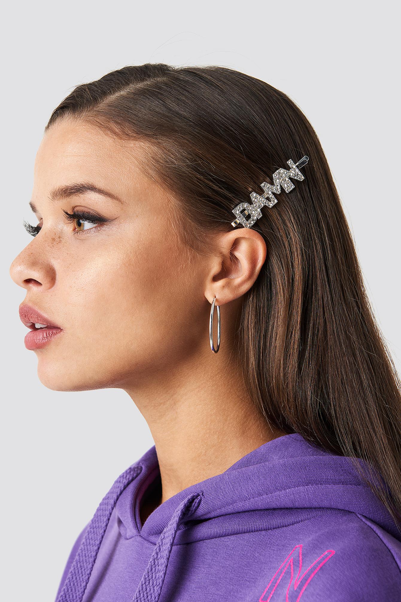 zara larsson -  Damn Rhinestone Hairclip - Silver