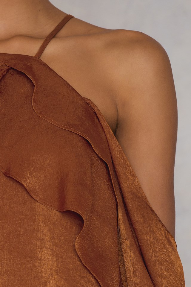 Ruffle Cold Shoulder Top Bronze
