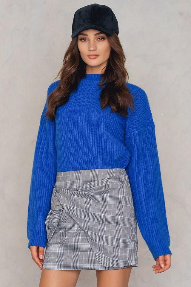 Draped Mini Skirt Plaid