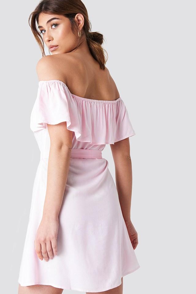Buttoned Flounce Dress Pink